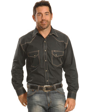 Crazy Cowboy Men's Grey Triple-Stitch Western Snap Shirt , Grey, hi-res