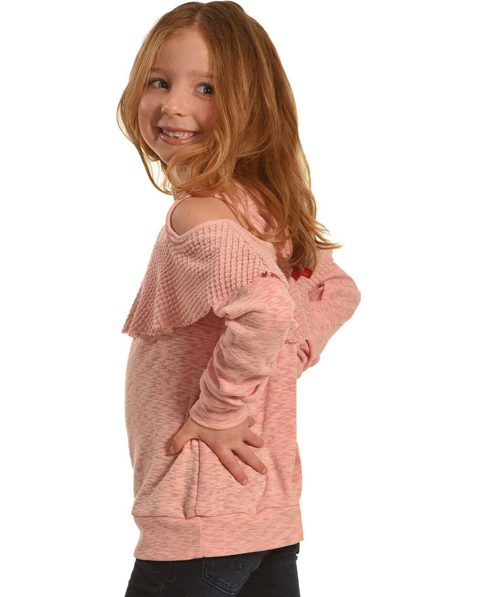 Miss Me Girls' Tier To Stay Cold Shoulder Top , Pink, hi-res