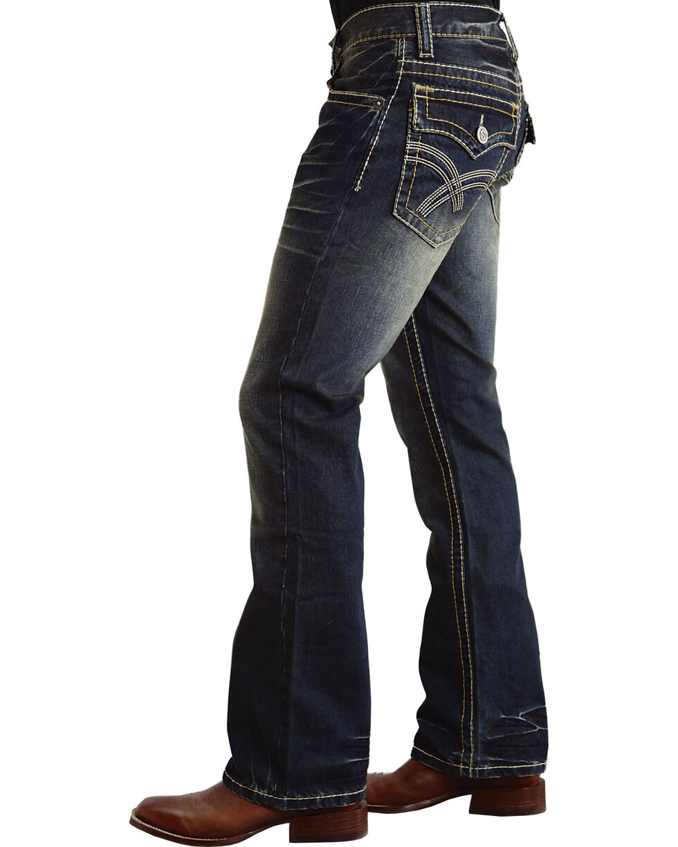 Stetson Men's Rocker Fit Straight Leg Jeans, Dark Stone, hi-res