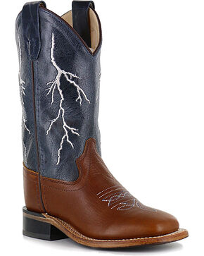 Cody James® Boys' Lightening Western Boots, Brown, hi-res
