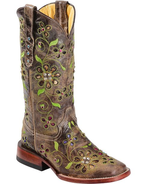 Ferrini Women's Blossom Western Boots, Chocolate, hi-res