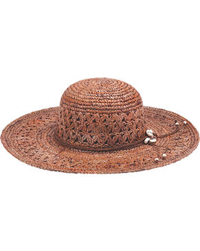 "Peter Grimm Bohemme 4 1/2"" Puka Shell Dark Brown Raffia Straw Sun Hat, Brown, hi-res"