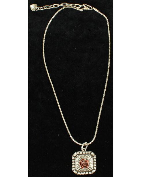 Blazin Roxx Rose Concho Necklace & Earring Set, Silver, hi-res