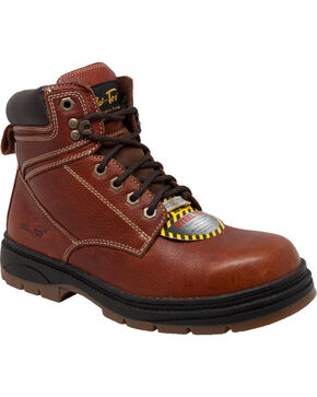 "Ad Tec Men's 6"" Tumbled Leather EH Work Boots - Steel Toe, Brown, hi-res"