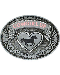 Western Express Women's Silver Cowgirl Up Belt Buckle , , hi-res
