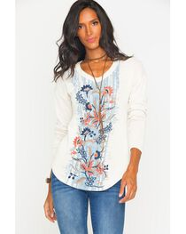 Miss Me Women's Embroidered Long Sleeve Knit Top , , hi-res
