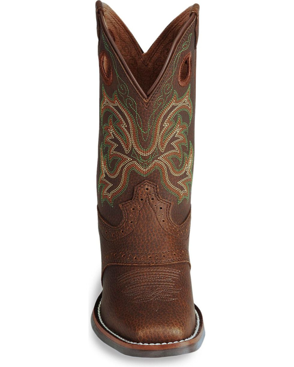 Justin Junior's Stampede Western Boots, Dark Brown, hi-res