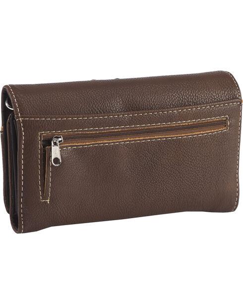 Wear N.E. Wear Women's Turquoise Stone Cross Crossbody Bag Wallet, Brown, hi-res