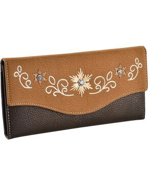 Blazin' Roxx Women's Tri-Fold Starburst Wallet, Distressed, hi-res