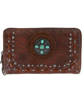 Trinity Ranch Women's Tooled Western Wallet, Brown, hi-res