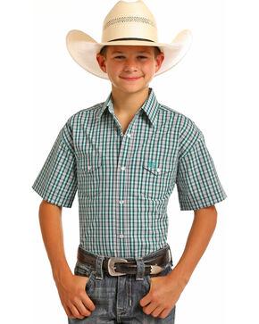 Rock & Roll Cowboy Boys' Checkered Plaid Short Sleeve Snap Shirt, Green, hi-res
