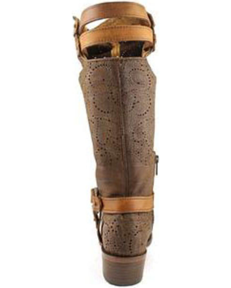 Corral Women's Chocolate Slouch Harness & Top Strap Cowgirl Boots - Medium Toe , Chocolate, hi-res