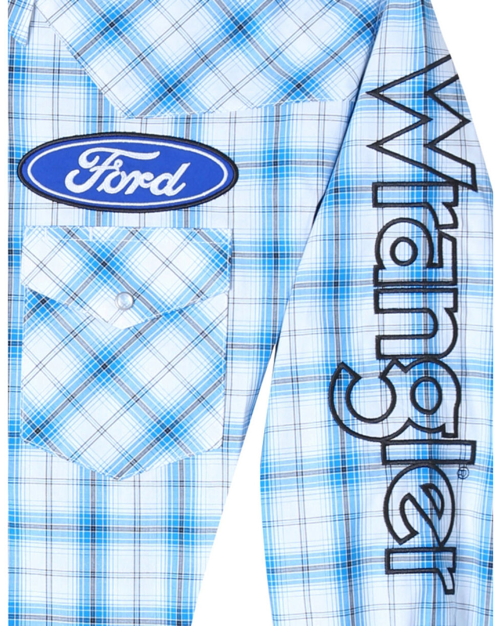 Wrangler Men's Ford Logo Long Sleeve Shirt, White, hi-res