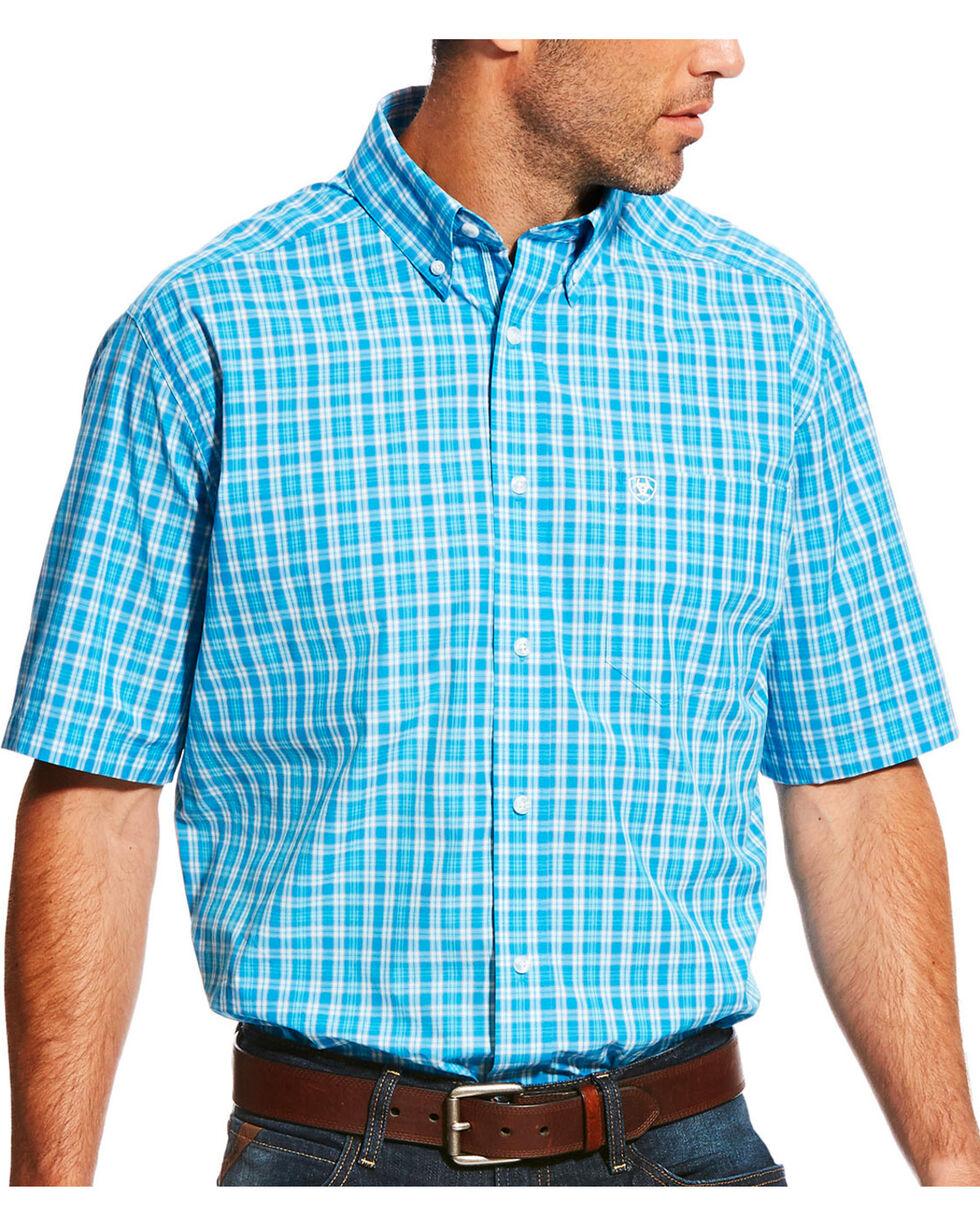 Ariat Men's Pro Series Lawson Deep Aqua Plaid Short Sleeve Shirt , Aqua, hi-res