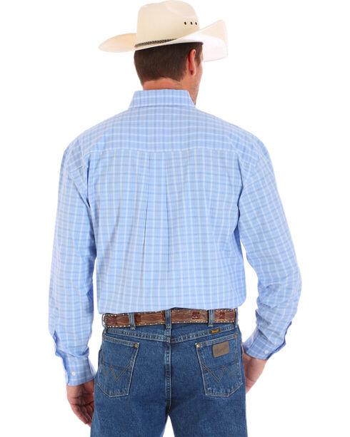 Wrangler George Strait Men's Plaid Long Sleeve Shirt, Blue, hi-res