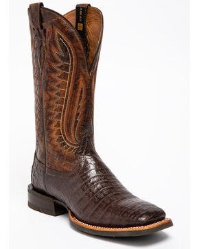 Ariat Men's Double Down Pecan Caiman Belly Cowboy Boots - Square Toe, Brown, hi-res
