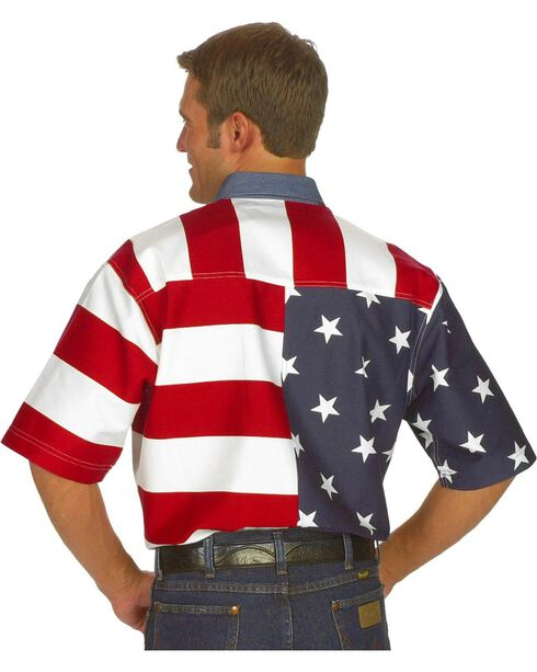 Roper Men's Short Sleeve American Flag Western Shirt, White, hi-res
