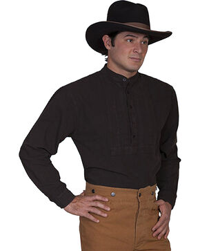 Rangewear by Scully Pleated Inset Bib Shirt - Big and Tall, Brown, hi-res
