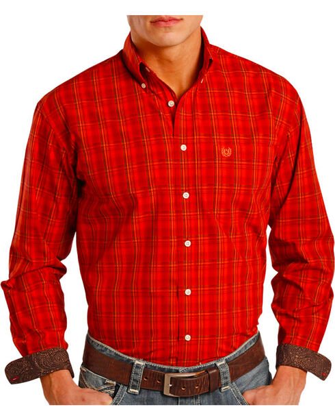 Panhandle Men's Plaid Contrast Long Sleeve Shirt, Rust Copper, hi-res