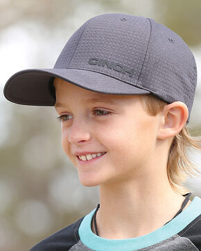 Cinch Boys' Charcoal Raised Logo Baseball Cap , Charcoal, hi-res