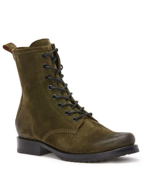 Frye Women's Forest Green Veronica Combat Boots - Round Toe , Dark Green, hi-res