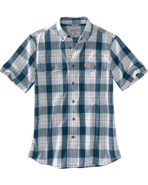 Carhartt Men's Plaid Printed Short Sleeve Shirt, Blue, hi-res