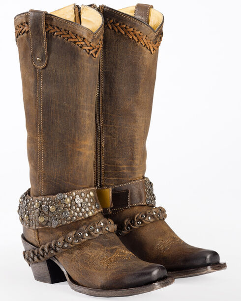 Corral Women's Woven Stud & Harness Boots - Square Toe, Brown, hi-res
