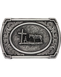 Montana Silversmiths Men's Christian Cowboy Ace in the Whole Belt Buckle, , hi-res