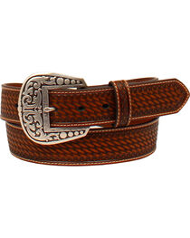 Ariat Women's Tooled Diamond Concho Overlay Belt , , hi-res