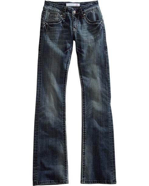 Tin Haul Women's Dolly Celebrity Striped Stitch Bootcut Jeans, Denim, hi-res