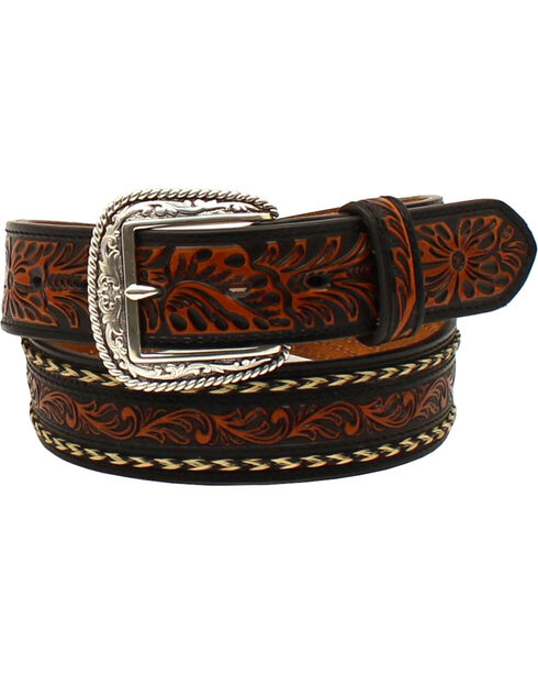 Ariat Men's Embossed Horse Hair Belt , Black/tan, hi-res