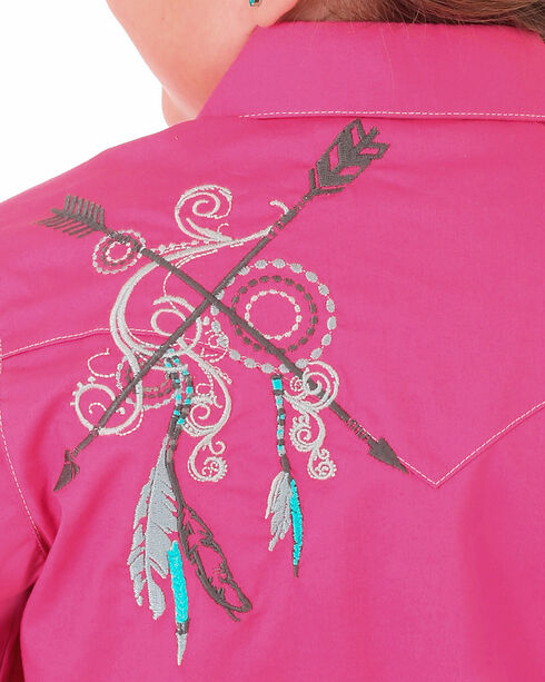 Wrangler Girls' Pink Arrow Embroidery Western Shirt , Pink, hi-res