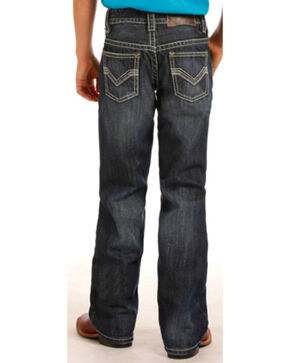 "Rock & Roll Cowboy Boys' Large ""V"" Stitch Jeans - Boot Cut , Indigo, hi-res"