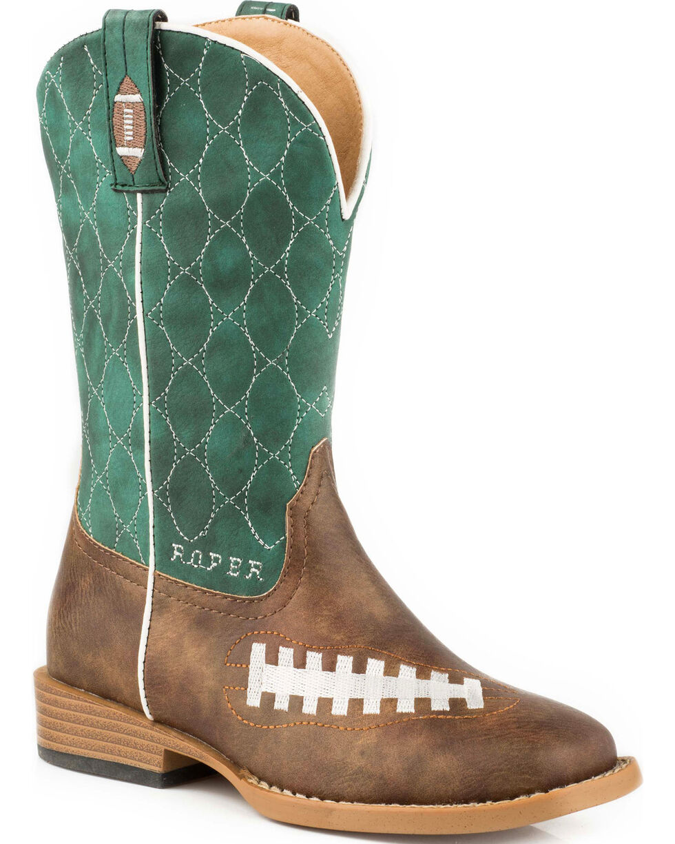 Roper Boys' Football Embroidered Cowboy Boots - Square Toe, Brown, hi-res