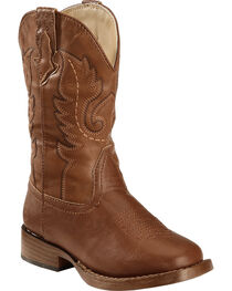 Roper Boys' Brown and Tan Texson Boots - Round Toe, , hi-res