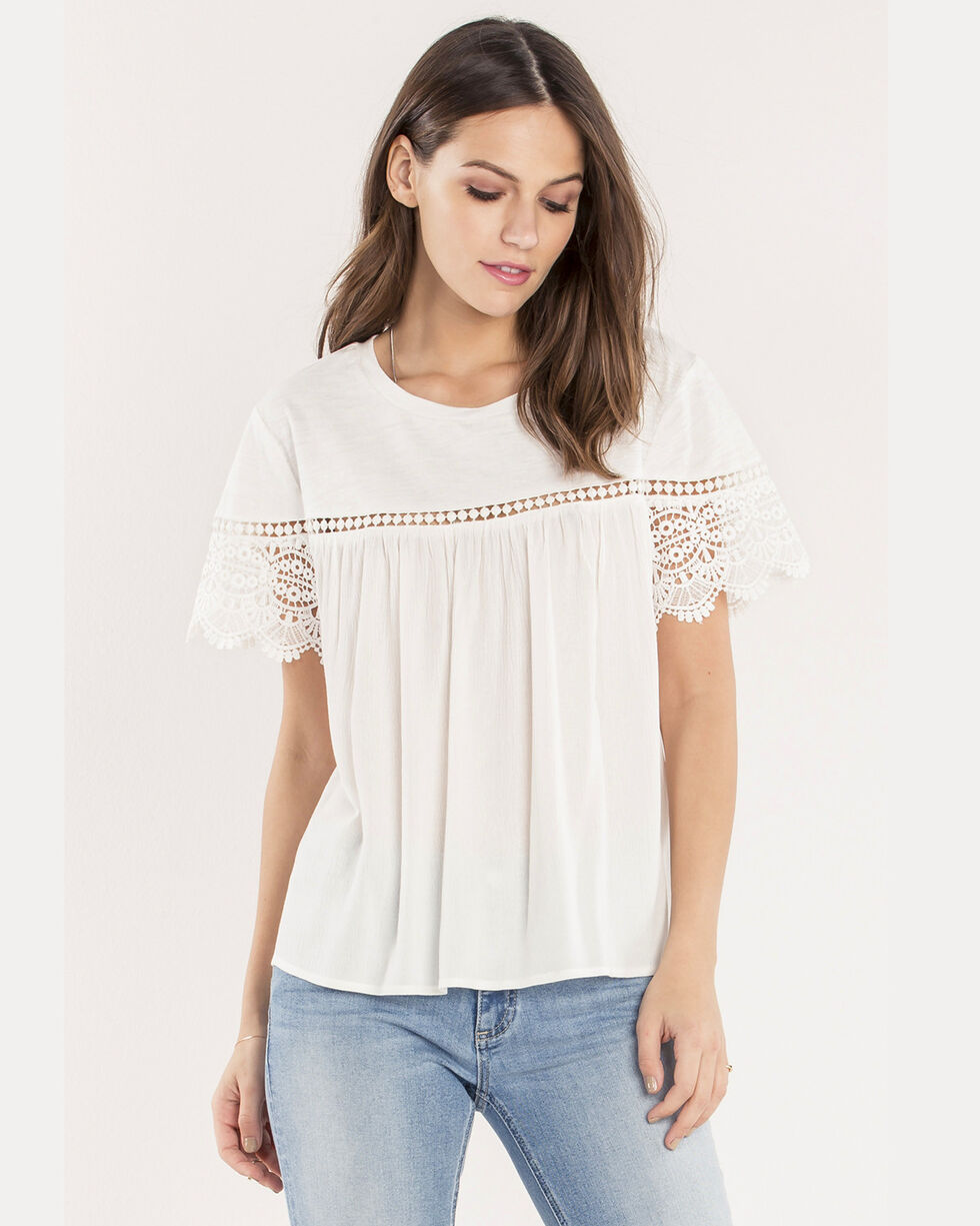 Miss Me Women's Essential Lace Top , White, hi-res