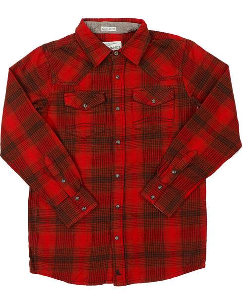 Cody James Boys' Lumber Jack Flannel Shirt, Red, hi-res