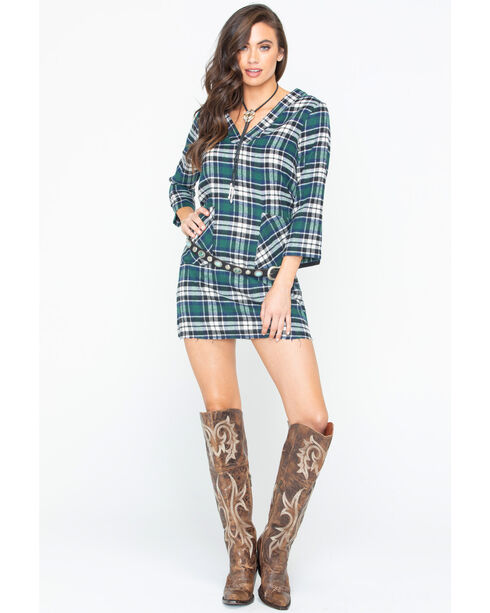 Glam Women's Green Flannel Plaid Raw Hem Pocket Dress , Green, hi-res