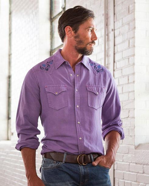 Ryan Michael Men's Lilac Silk Linen Western Shirt , Purple, hi-res