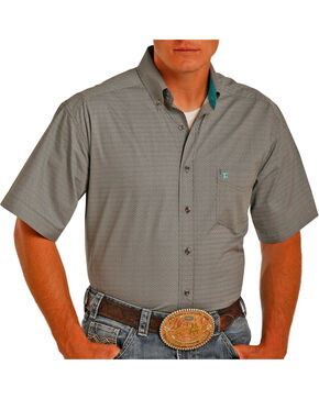 Tuf Cooper by Panhandle Men's Geo Printed Short Sleeve Shirt, Grey, hi-res