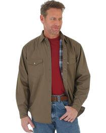 Wrangler Men's Beige Riggs Workwear Flannel Lined Ripstop Shirt , , hi-res