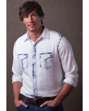 Ryan Michael Men's White Neon Bleached Indigo Shirt , White, hi-res