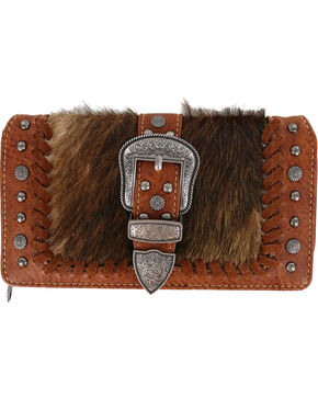 Shyanne® Women's Faux Fur Tri-Fold Wallet, Brown, hi-res