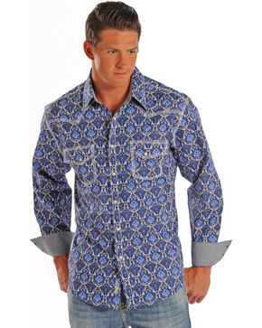 Rock & Roll Cowboy Men's Western Patterned Long Sleeve Shirt, Print, hi-res