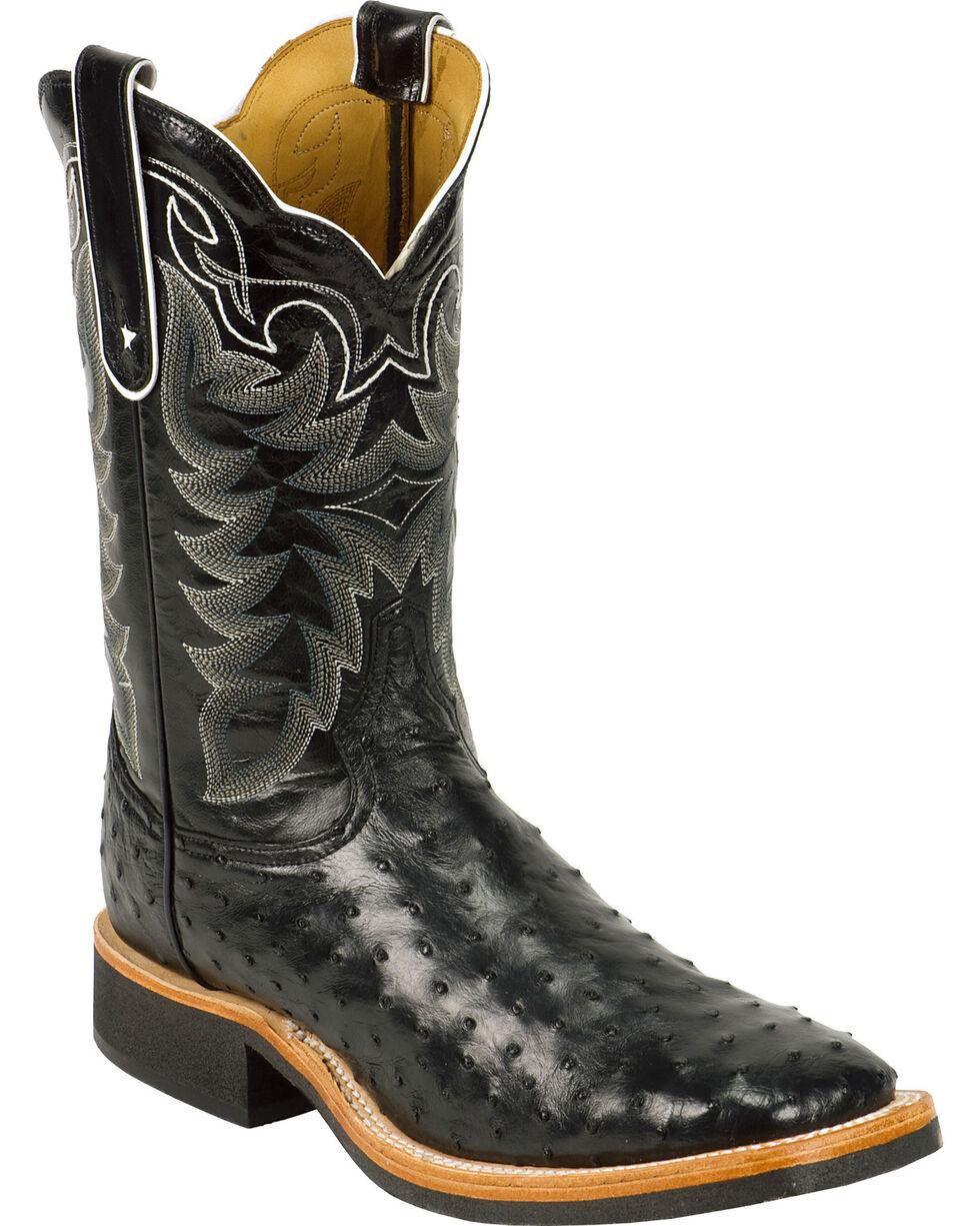 Tony Lama Men's Ostrich Cowboy Crepe Western Boots, Black, hi-res