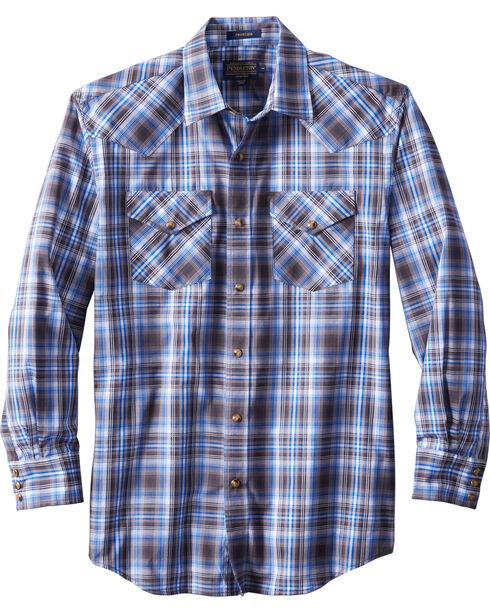 Pendleton Men's Long Sleeve Frontier Plaid Shirt, Blue, hi-res