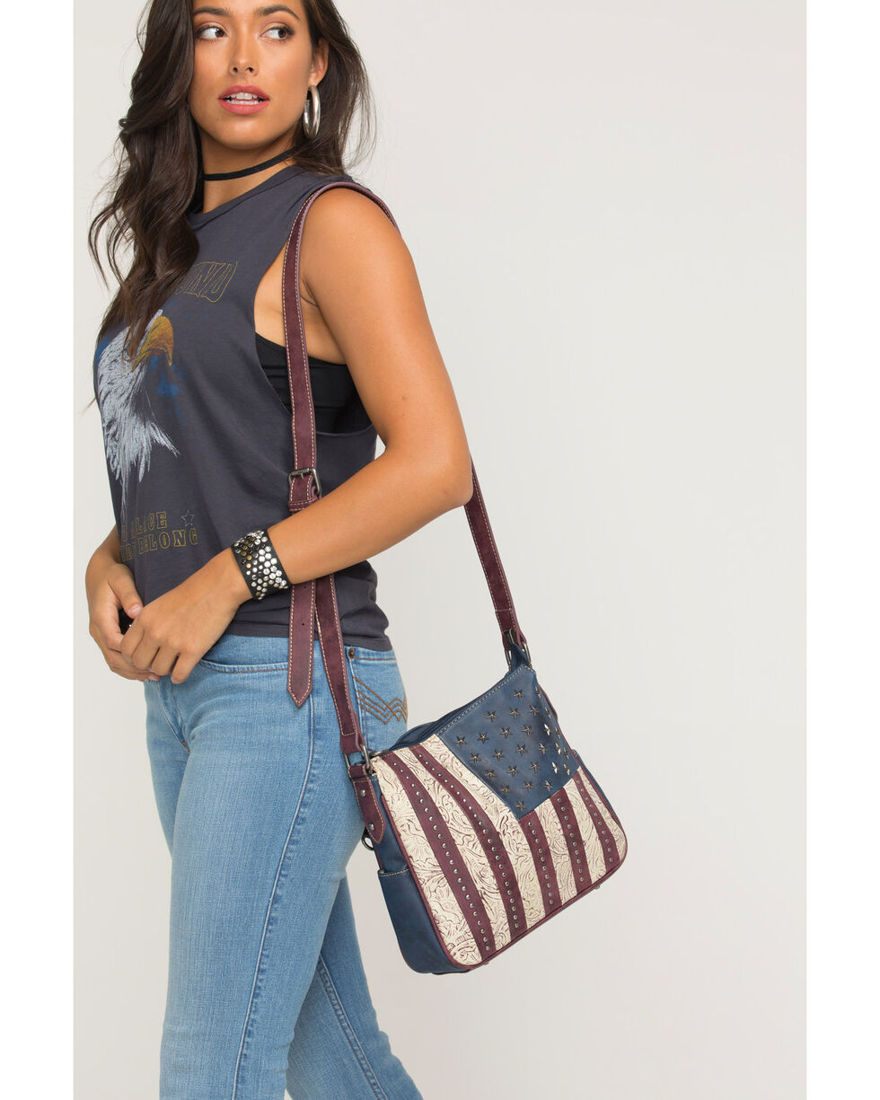 Shyanne Women's Old Glory Flag Crossbody, Navy, hi-res
