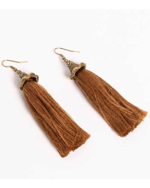 Shyanne Women's Adilene Simple Brown Tassel Earrings, Brown, hi-res
