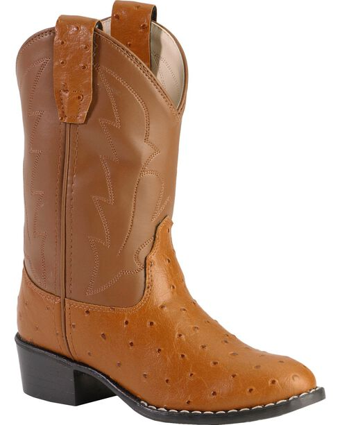 Jama Children's Ostrich Print Western Boots, Brown, hi-res