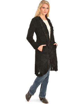 Scully Women's Suede Fringe Maxi Coat, Black, hi-res
